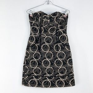 Frock By Tracy Reese Black Print Strapless Mini